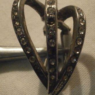Старая винтажная серьга бронза покрытие