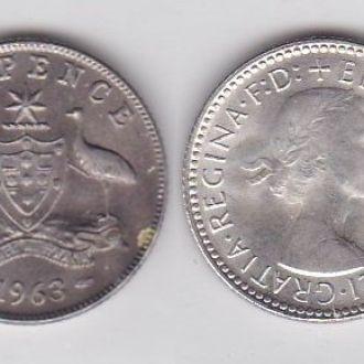 Австралия - 6 six Pence 1963 серебро
