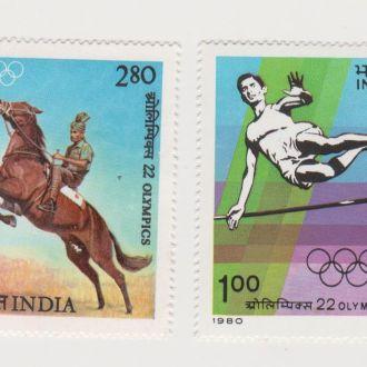 1980 Индия № 834-835 Спорт. Олимпиада-80**