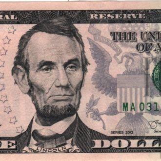 5 долларов замещения* США 2013г. в UNC из пачки