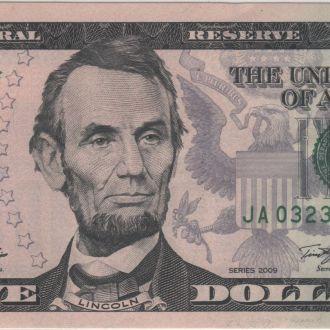 5 долларов США 2009г. в UNC из пачки