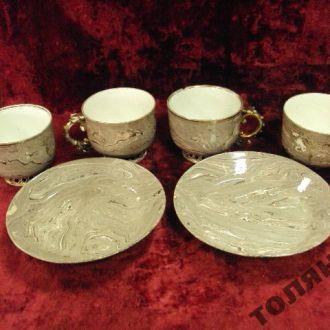 мраморный фарфор набор чашки и блюдца федякины