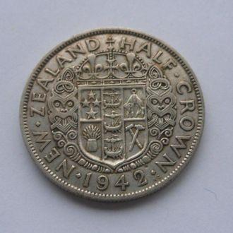 Новая Зеландия 1/2 кроны 1942 г серебро №2