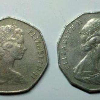 2 монеты 50 пенсов 1977 и 1984 года