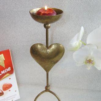 Подсвечник валентинка Железное сердце, 29см винтаж