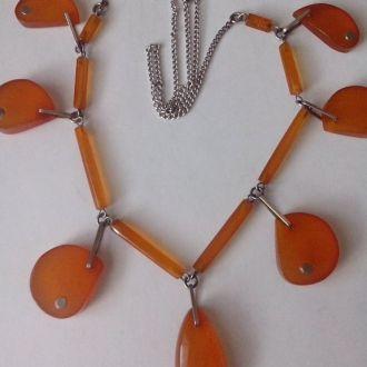 Колье/ Ожерелье/Бусы. Медовый янтарь. Серебро.