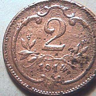 Австрия 2 геллера 1914 год
