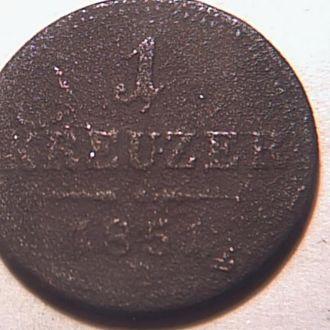 Австрия .1 крейцер 1851 г