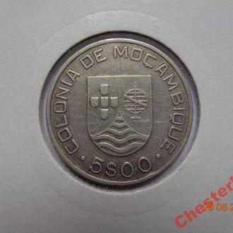 Португальский Мозамбик 5 эскудо 1935 серебро очень редкая