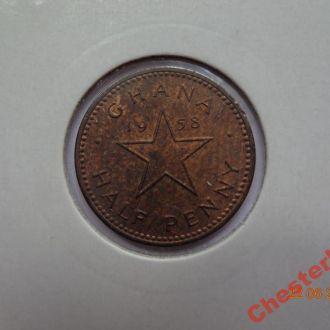 Гана 1/2 пенни 1958 состояние редкая