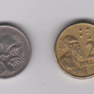 5 ЦЕНТОВ 1999 г.  и 2 ДОЛЛАРА 1988  г. = АВСТРАЛИЯ