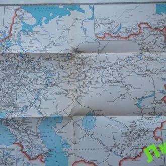 Карта схема ж/д железных дорог СССР 1969 Украина