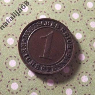 Германия 1925 год монета 1 пфенинг J !