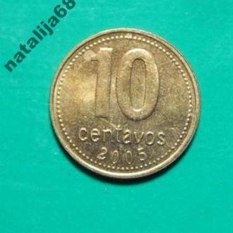 Аргентина 2005 год монета 10 сентаво !