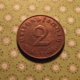 Германия 1940 год монета 2 пфенинга E