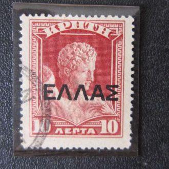 марка Крит 1908 стандарт надпечатка абкляч