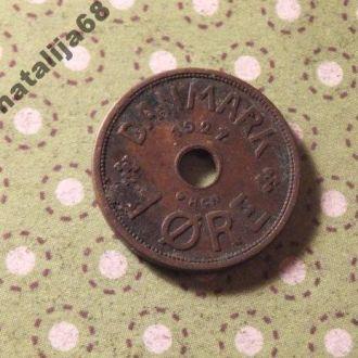 Дания 1927 год монета 1 эре !
