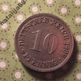 Германия Империя 1909 год монета 10 пфенингов D