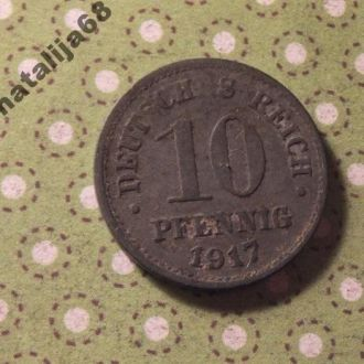 Германия 1917 г. монета 10 пфенингов !