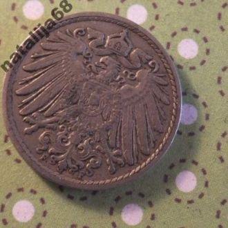 Германия 1912 год монета 5 пфенингов F !