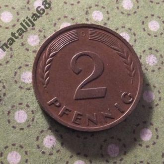 Германия 1965 год монета 2 пфенингa D !