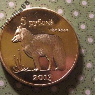 Курильские острова 2013 год монета 5 рублей фауна !