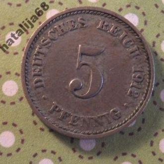 Германия 1912 год монета 5 пфенингов D !