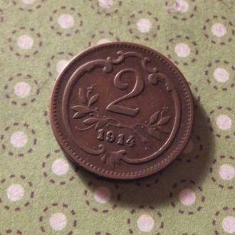 Австрия 1914 год монета 2 геллера !