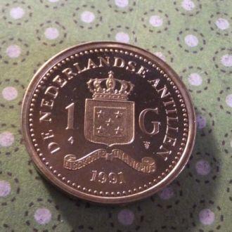 Антилы монета 1 гульден Антильские остров 1991 год !