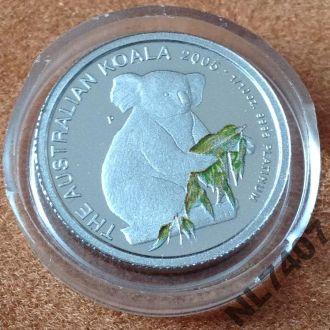 Коала 2005 15 $ Австралия платина тираж 500 штук