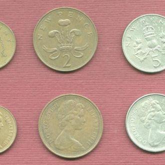 Великобритания Набор из 5 монет нач. 70-х