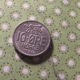 Норвегия монета 10 эре 1962 год !