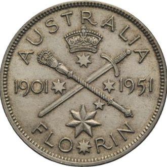 Австралия Флорин 1951 Юбилейный 50-летие короля UNC !