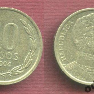 Чили 10 песо 2004