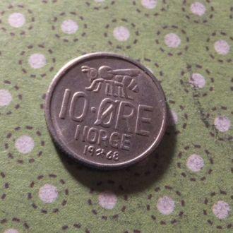 Норвегия монета 10 эре 1968 год !