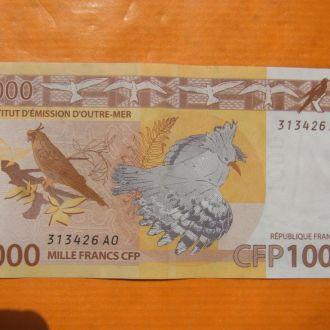 Французкая Полинезия 1000 франков 2014 фауна птица