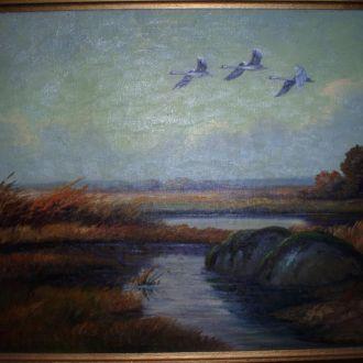 Картина лебеди - холст, масло, 1950 года  Германия