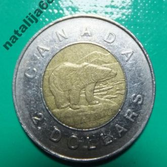 Канада 1996 год монета 2 доллара фауна биметалл !