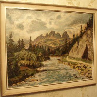 Картина пейзаж 1960 года, масло, E. Diehl Германия
