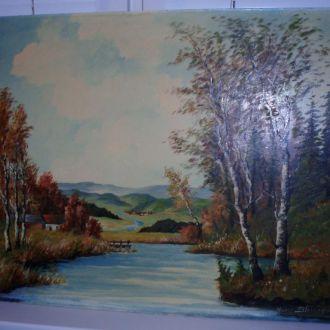 Картина пейзаж осень  масло, Германия 1964  Hans