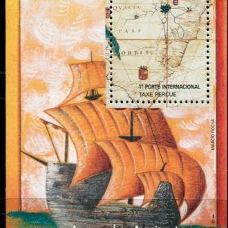 Бразилия Корабли Старинный парусник и карта MNH