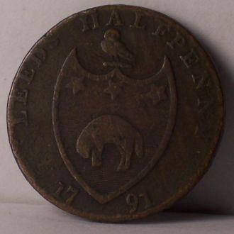 Токен, жетон, 1/2 пенни, Лидс, Англия 1791 г.