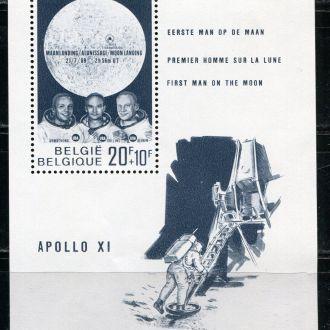 Бельгия Космос Посадка Апполо 11 на Луну Блок MNH