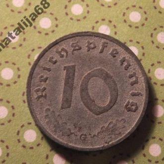 Германия монета 10 пфенингов 1940 год G !
