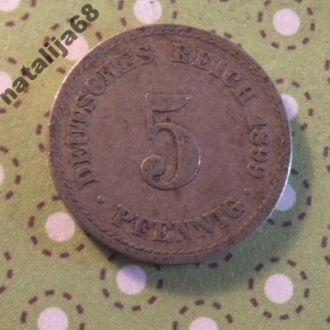 Германия 1899 год монета 5 пфенингов A !