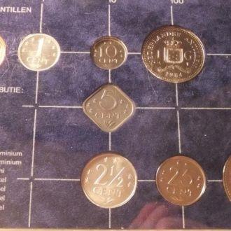 Антилы 1984 набор монет Антильские о. буклет UNC