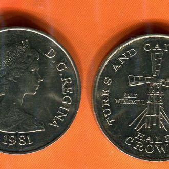 Теркс и Кайкос 1/2 кроны 1981 Мельница UNC из рола