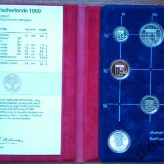 Нидерланды,годовой набор 1989 г в планшете.Пруф.