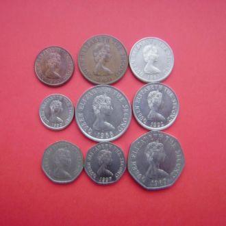 Джерси набор 9 монет 1982-1990.