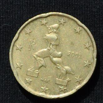 20 евроцентов Италия 2002 г.